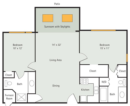 Elm 2 bedroom apartment floorplan